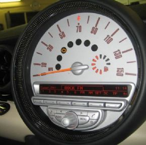 Speedo/centre vent surround with Carbon fibre rings